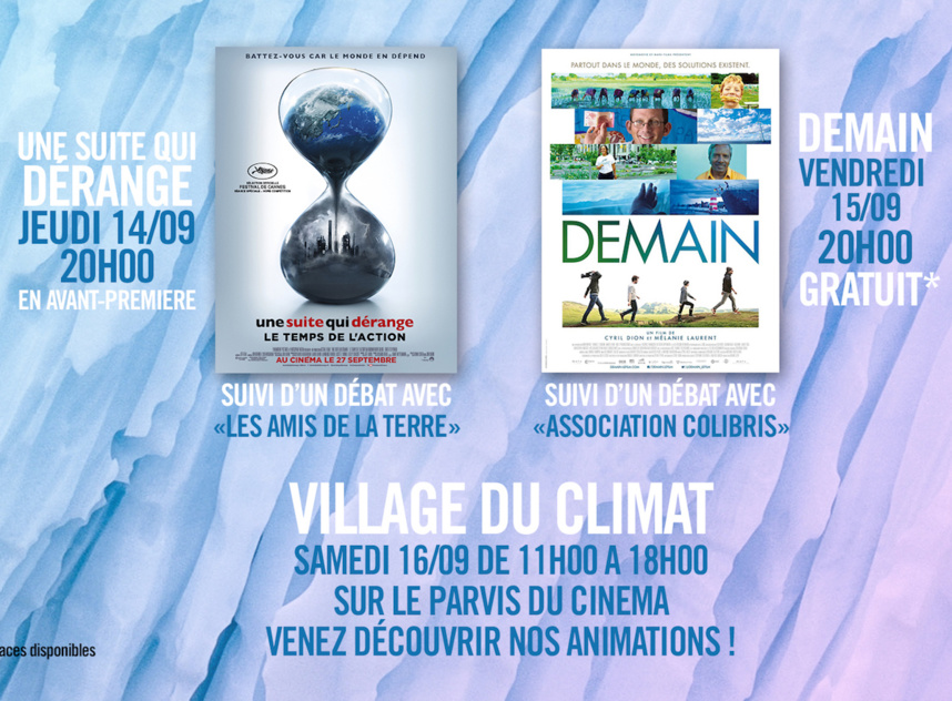 Cinémas Pathé Annecy, trois jours pour le climat et l'environnement, du 14 au 16 septembre 2017