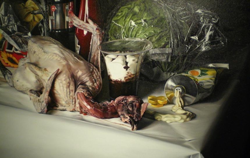 Nature morte au poulet - Till Rabus expose à l'Abbaye. Espace d'art contemporain. Annecy-le-Vieux @MoveOnMag