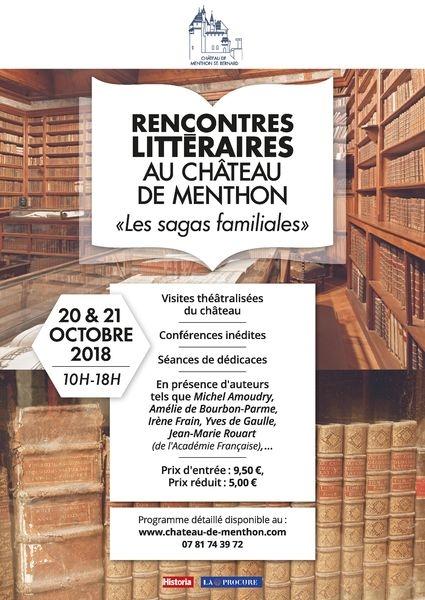 Affiche Rencontres littéraires au Château de Menthon « Les sagas familiales »