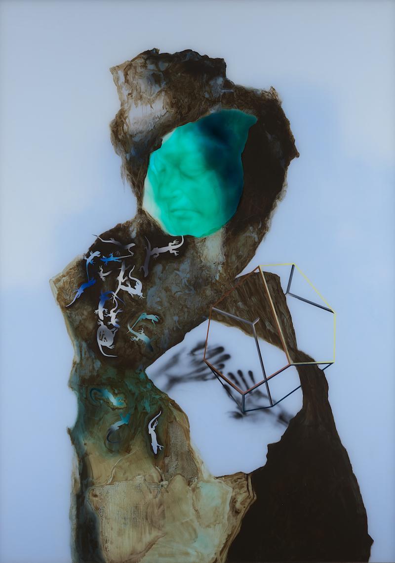 Fantôme avec rhomboèdre aux lézards n°19. Daniel Schlier ©Fondation Salomon