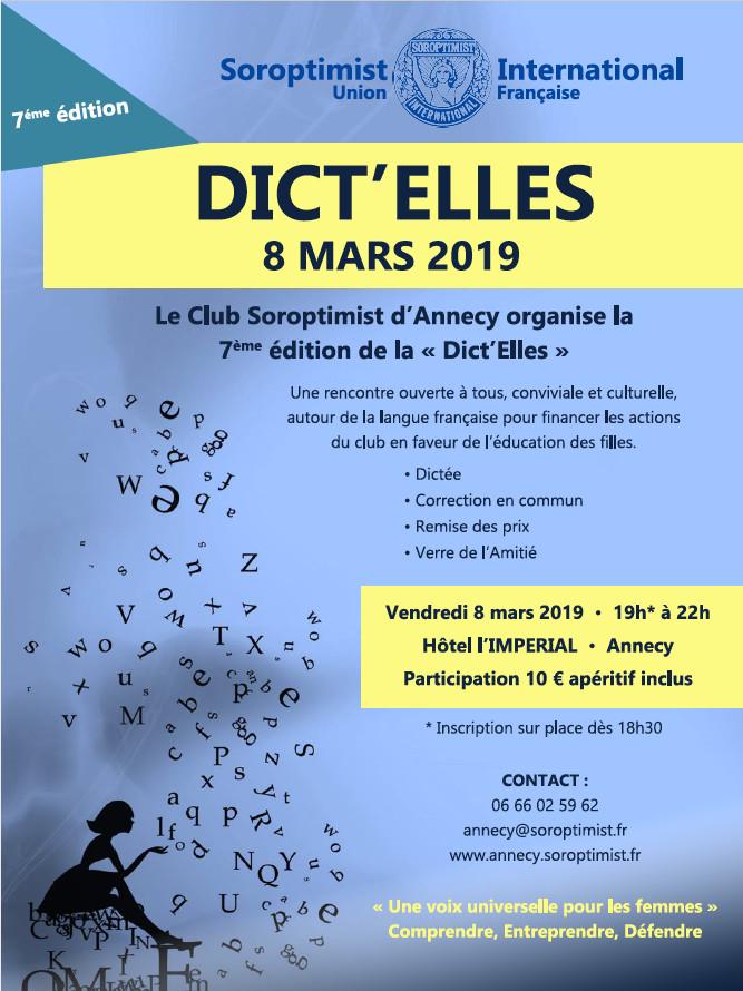 Affiche pour Dict'Elles, du Club Soroptimist / 8 Mars 2019 L'Impérial Annecy