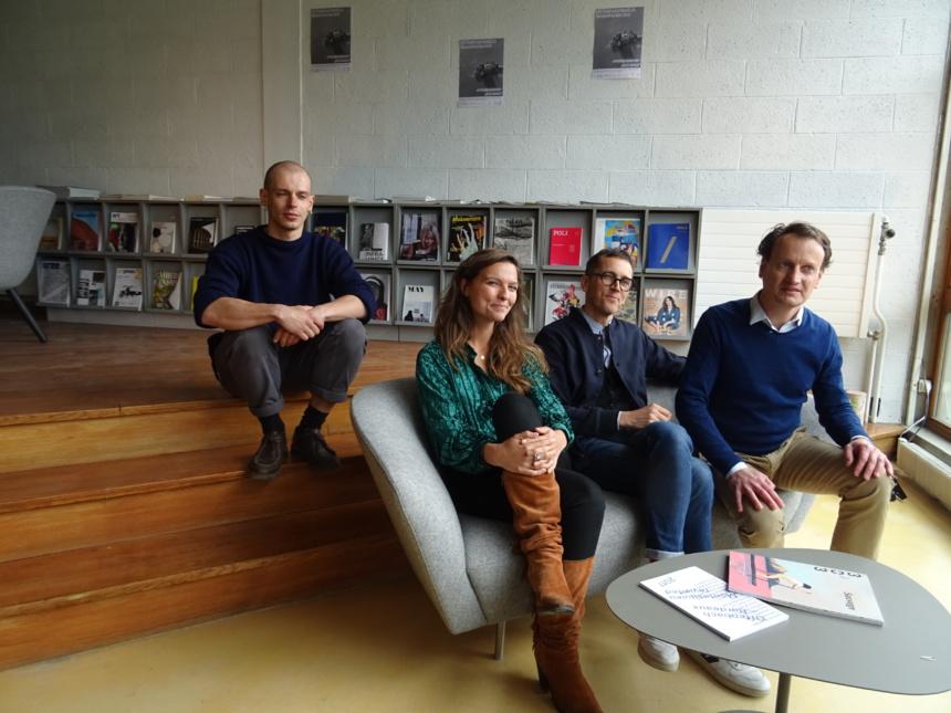 Quentin Lazzarreschi, doctorant à l'ESAAA,Sonia Razafindranaly qui dirige la programmation culturelle de château de Duingt,Stéphane Sauzedde et Hugues de Certeau ©Paul Rassat