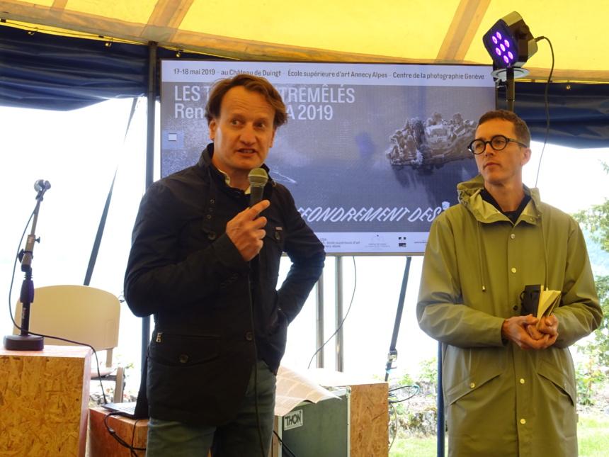 HUgues de Certeau, hôte de la Presqu'île de l'Imaginaire et Séphane Sauzedde, directeur de l'ESAAA