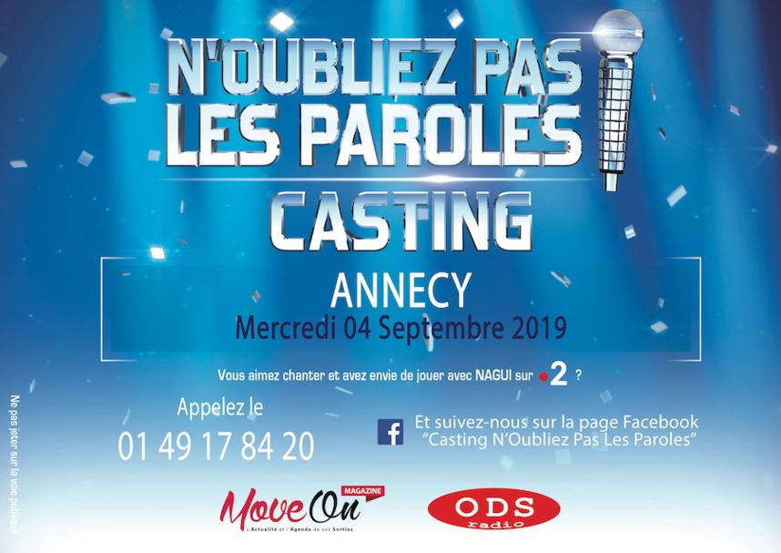 Vous aimez chanter ? Participez au casting de « N'Oubliez Pas Les Paroles » à Annecy le 4 septembre 2019 !