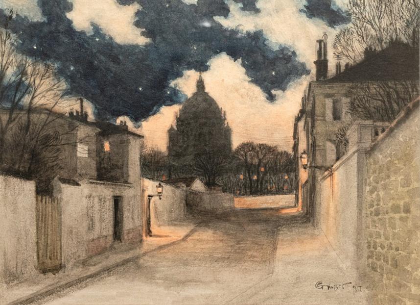 Eugène Grasset. Nuit étoilée à Montmartre 1897. Photo © S. Pons