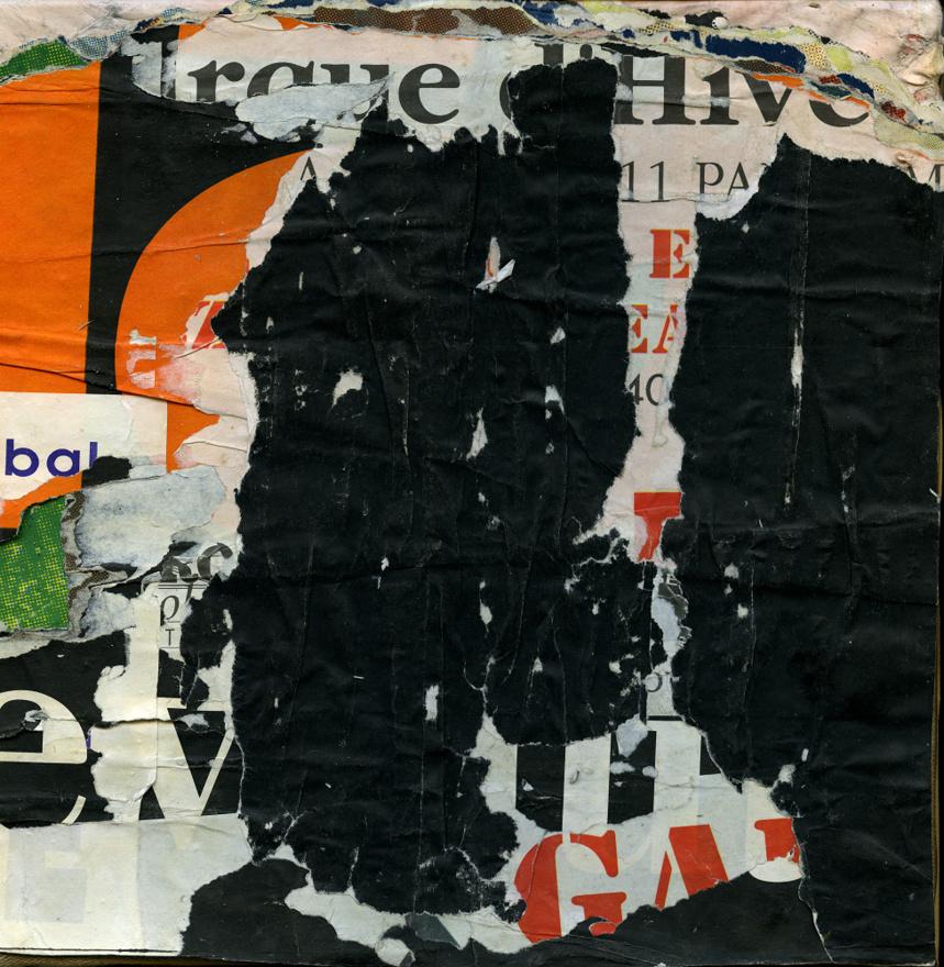 Rue de Rennes 6° arrondissement. 1992. Affiches lacérées marouflées sur toile