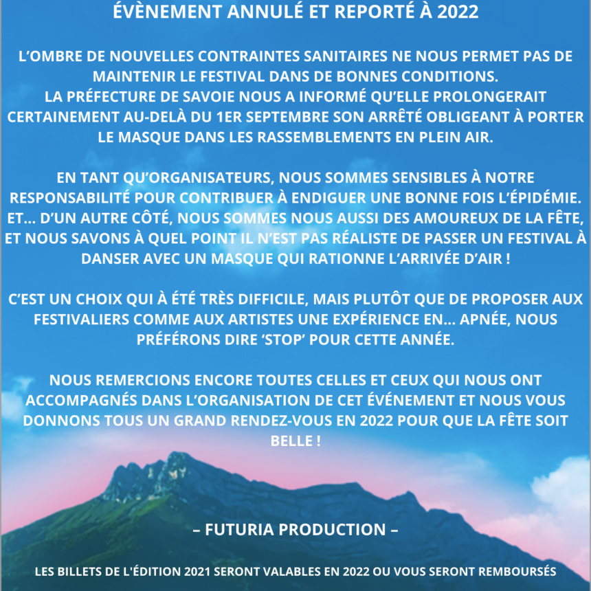 Annulation de l'événement Futuria Open Air Festival 2021 - Mercredi 15 Août 2021