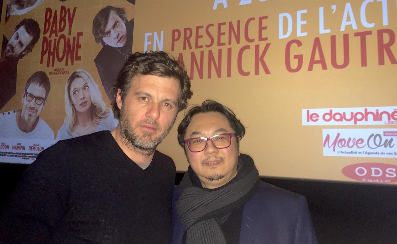 Lannick Laudry (Acteur du film baby Phone) et Savanna Samokine (Directeur du Pathé Annecy) au Pathé Annecy ©Damien Tiberio