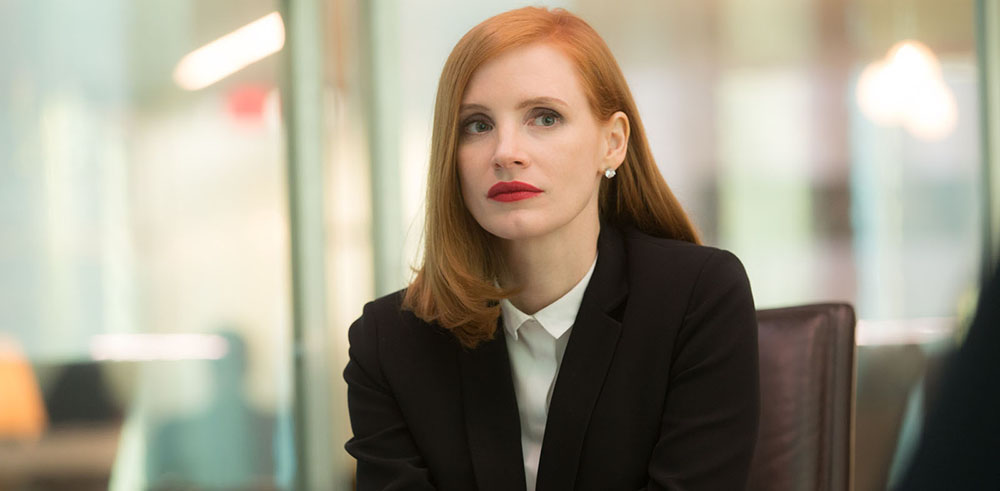 Jessica Chastain dans Miss Sloane.  KERRY HAYES / 2016 EUROPACORP - FRANCE 2 CINÉMA