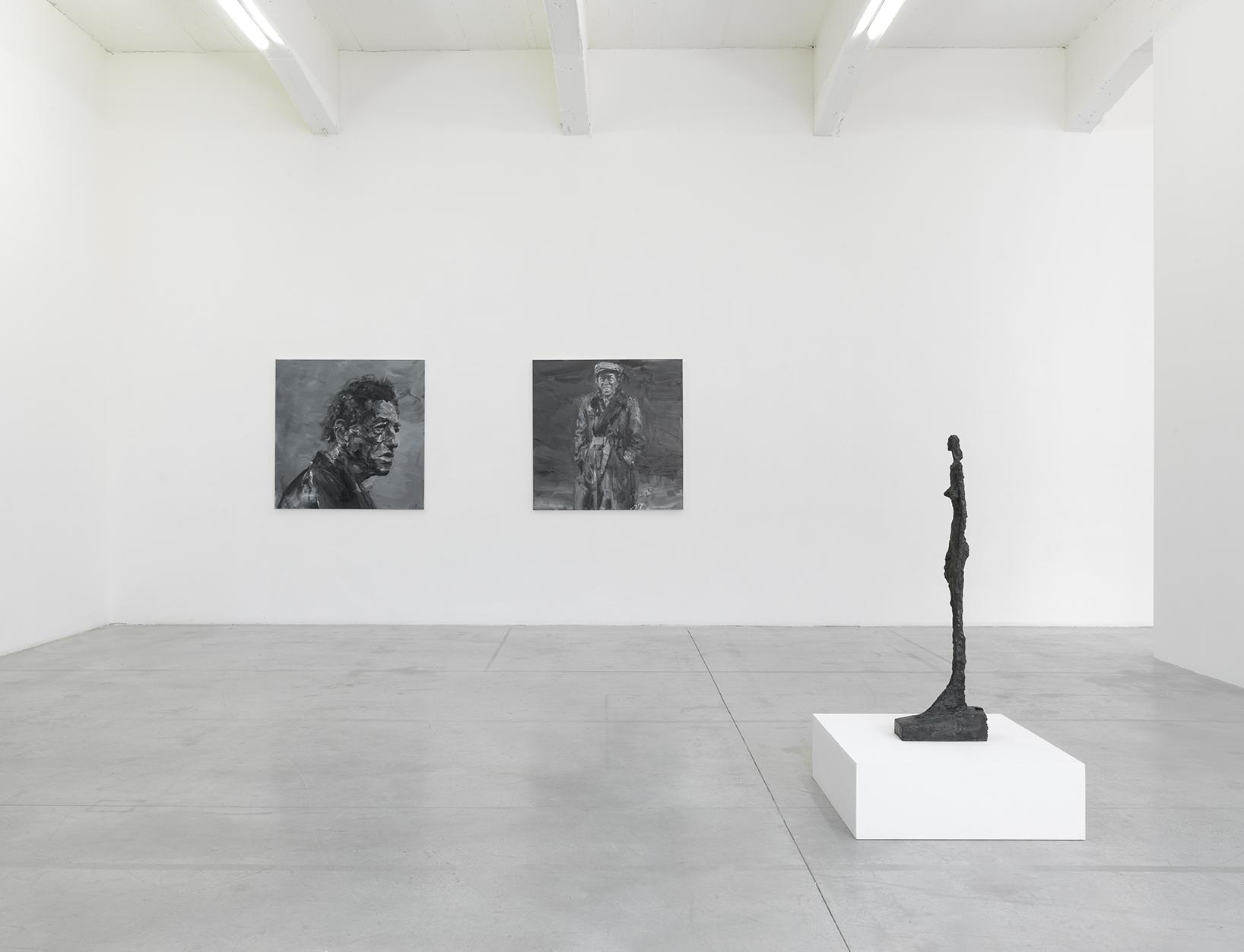Yan Pei-Ming. Alberto Giacometti 2017. L'unique portrait-On Kawara 2017. A. Giacometti Femme de VeniseV 1956. Centre POmpidou (Photo André Morin)