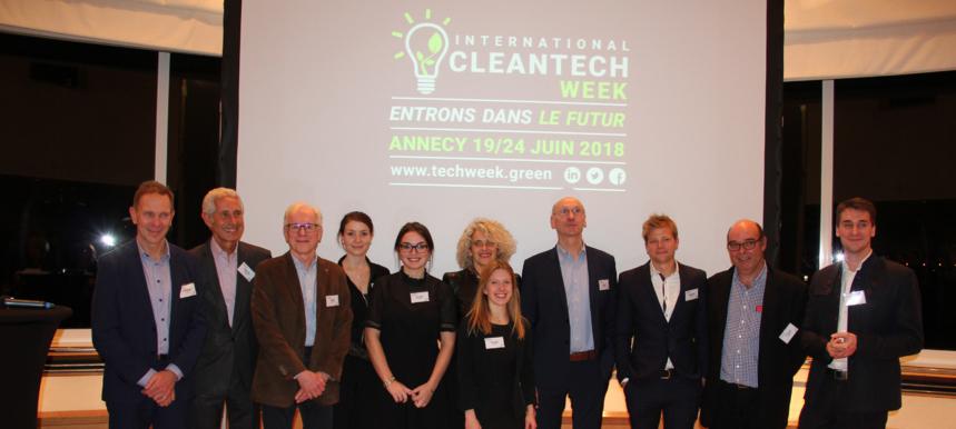 Denis Horeau et une partie de l'équipage - Cleantech week - Palace Imperial Annecy - 2018