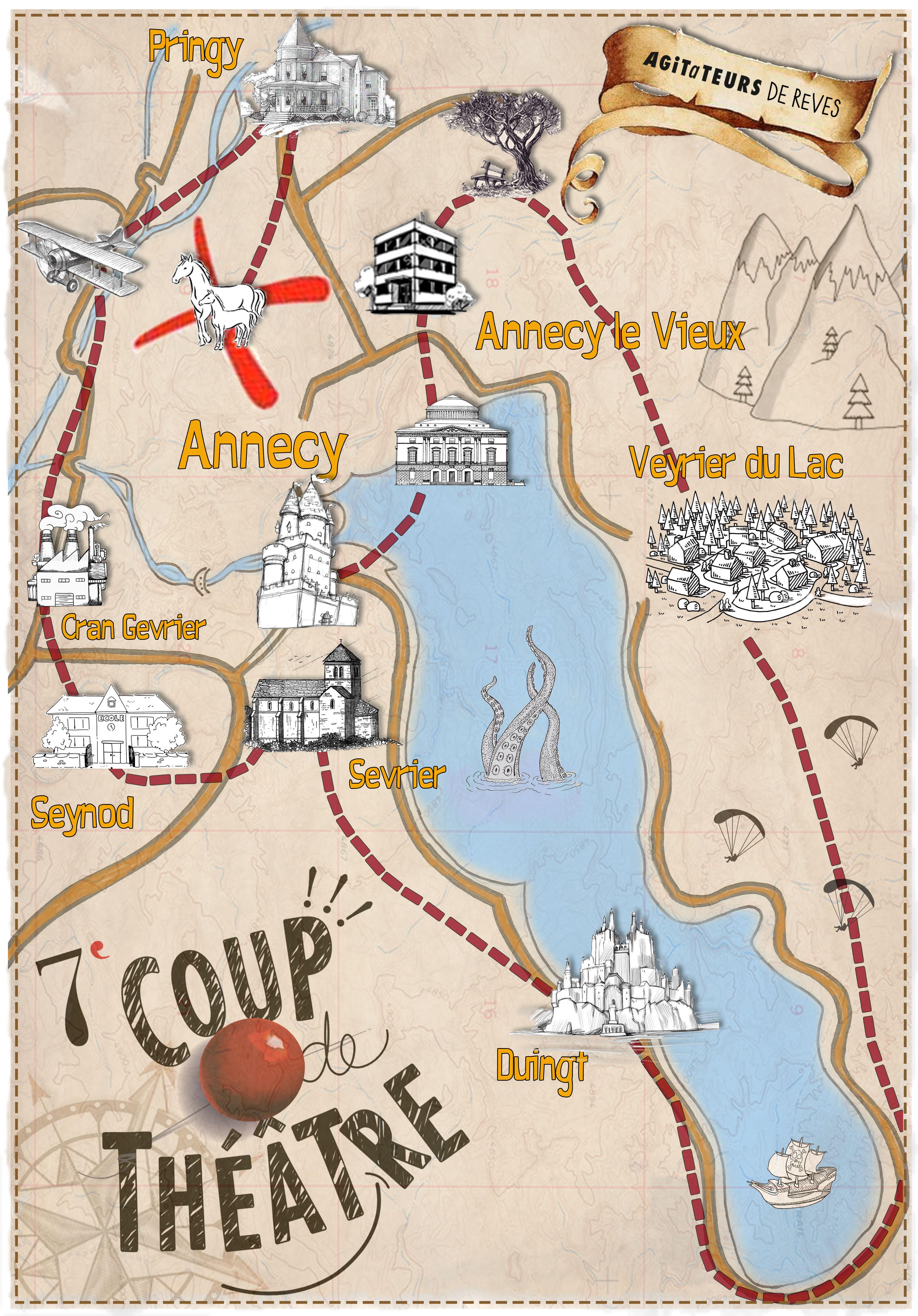 Les lieux de spectacle qui composent la carte au trésor / 7° Coup de théâtre pour les Agitateurs de Rêves