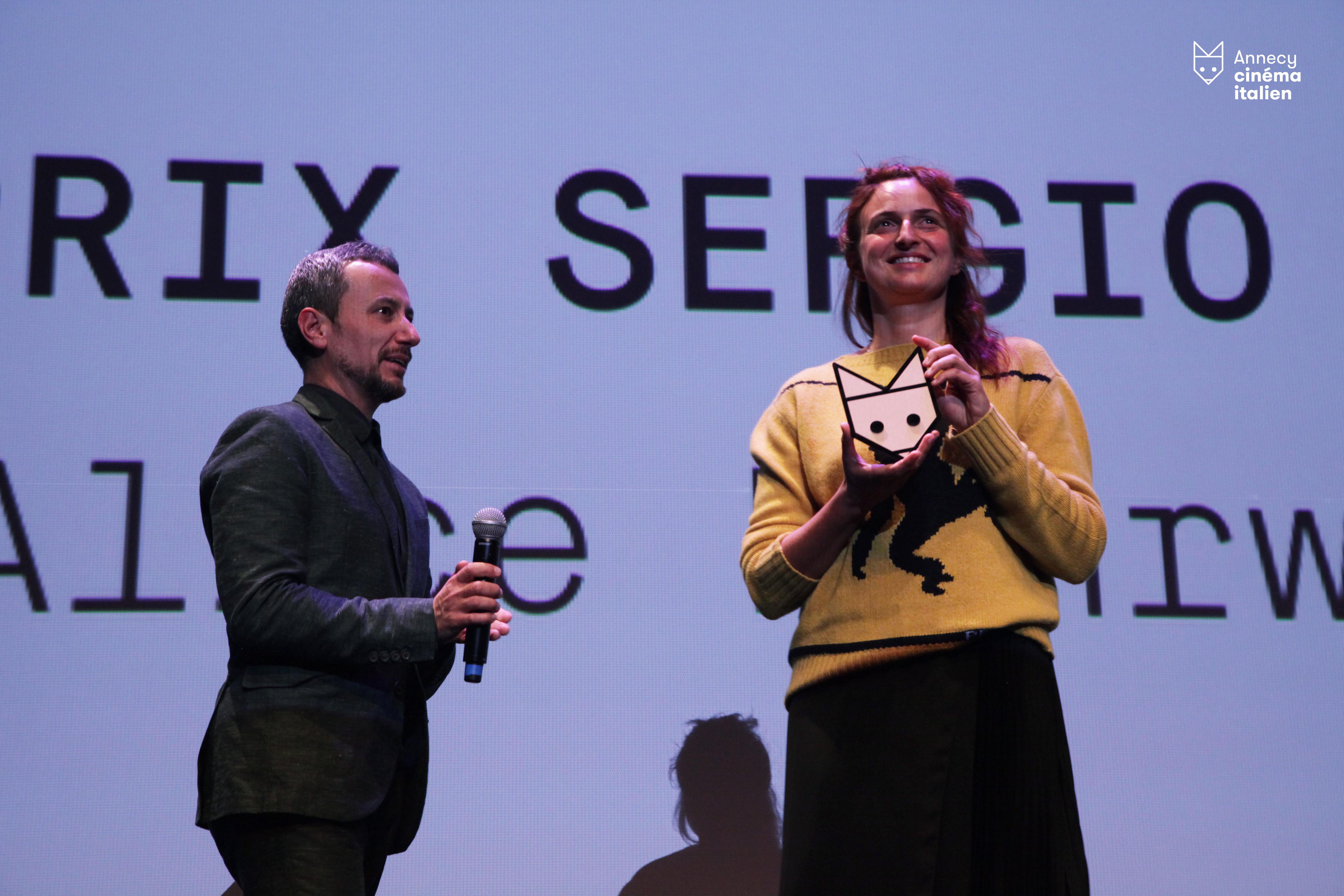 Photo d'Aurélie Grospiron pour le Festival. F. Giai Via et Alice Rohrwacher pour le prix Sergio Leone ©Festival Cinéma Italien