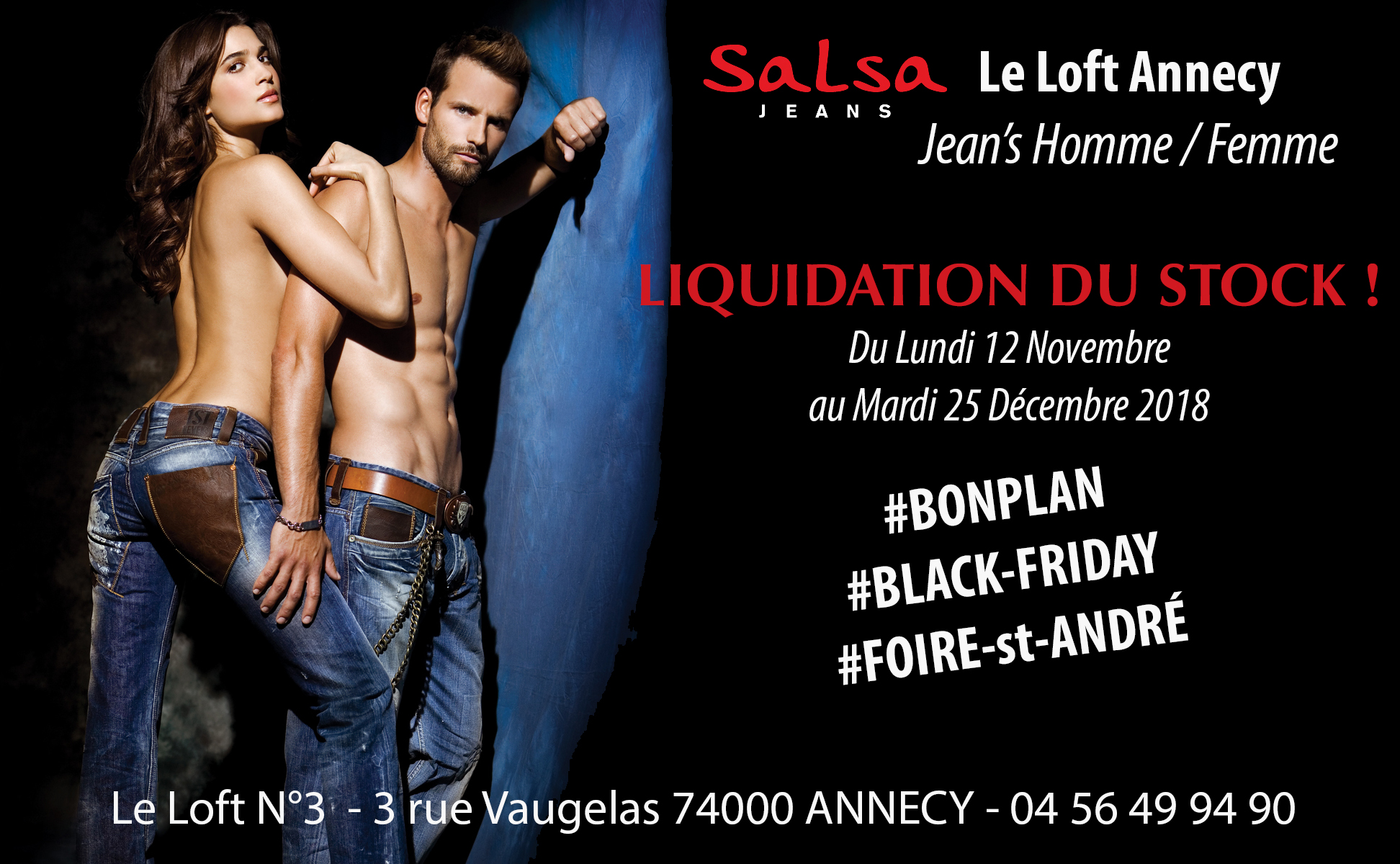 #COUPONING Le Loft Annecy / Salsa / Grosse liquidation de Jeans à Annecy avant les fêtes !