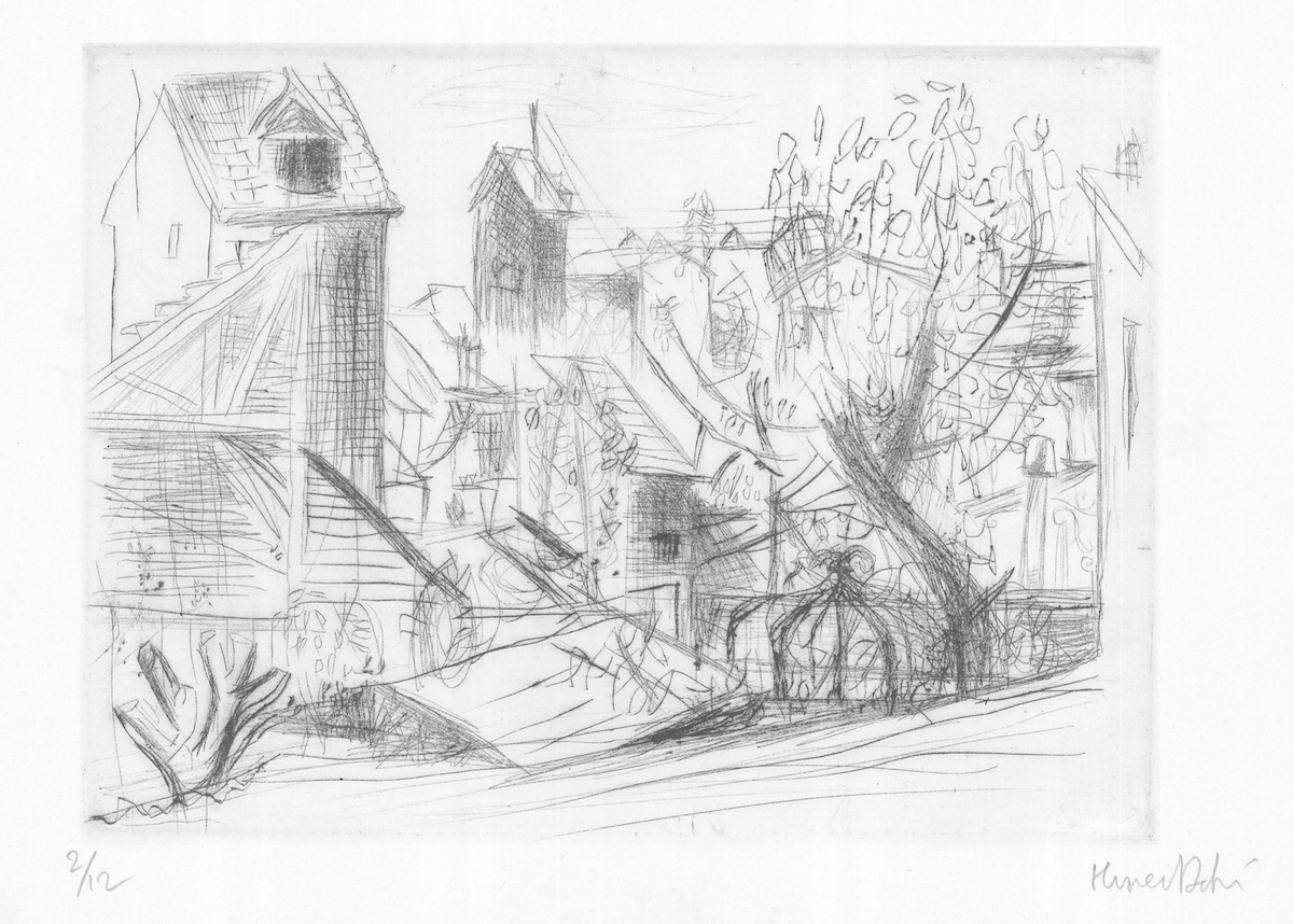 Olivier Debré, Sans titre, eau-forte sur papier, 24,4 x 31,6 cm, 1948, collection des Musées d'Annecy (c)Adagp, Paris