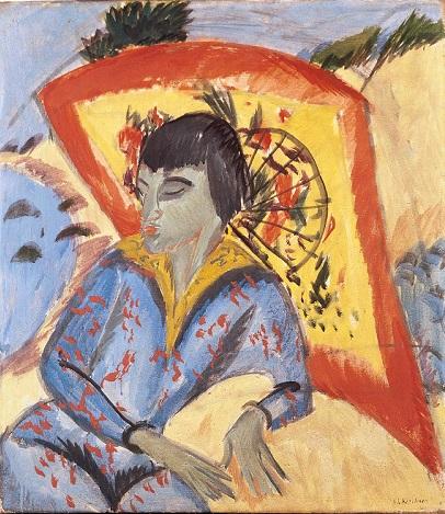 L. Kirchner Erna avec parapluie japonais. 1913. © Jörg Müller