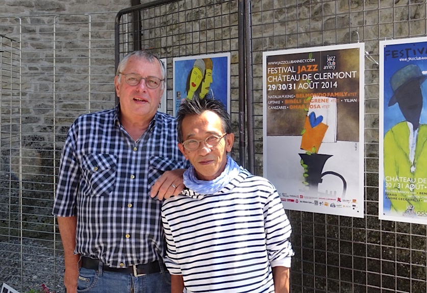 Avec Minh Tran qui crée les affiches du Festival depuis 20 ans @Festival de Jazz à Clermont-en-Genevois 2019