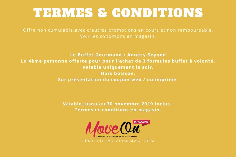 #COUPONING : La 4ème personne offerte @Le Buffet Gourmand Annecy