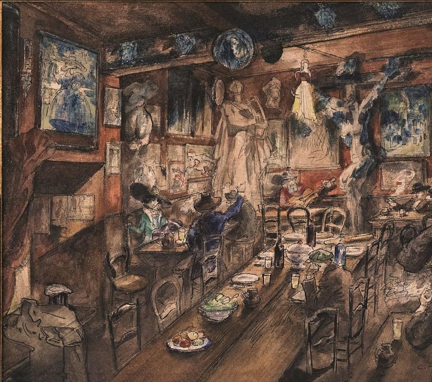 Georges Tiret-Bognet. Intérieur du Lapin agile. vers 1910. photo © S. Pons