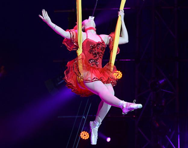 Un numéro de tissu et d'équilibre avec sabres / Copyright Le Grand Cirque Sur l'Eau